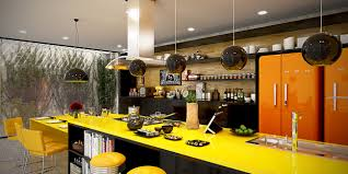 Multi Level Kitchen Island Design Neon Yellow Kitchen In Open Layout Home Glossy Modern