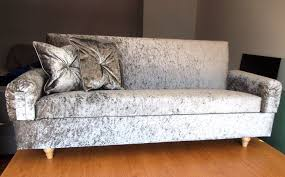 Velvet Sofa Bed Crushed Velvet Sofa Bed Silver Designer 4 Seats Storage 204cm