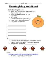 3rd grade thanksgiving webquests resources lesson plans teachers