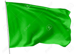 Flying Flag Green Flag On Flagpole Flying In The Wind Isolated On White