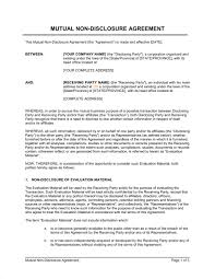 Non Disclosure Statement Template by Non Disclosure Agreement Template Sle Form Biztree Com