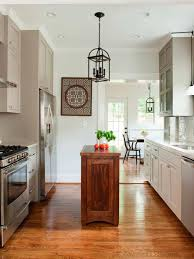 kitchen brown wooden small narrow kitchen island with white