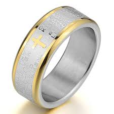 Lord Of The Rings Wedding Band by Amazon Com Inblue Men U0027s Stainless Steel Ring Band Silver Gold