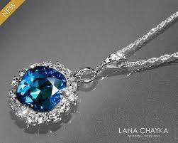 blue crystal necklace swarovski images Bermuda blue crystal halo necklace swarovski bermuda blue jpg