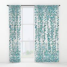 Teal Patterned Curtains Window Curtains Society6