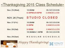 thanksgiving 2015 class schedule vitality in bayside new york