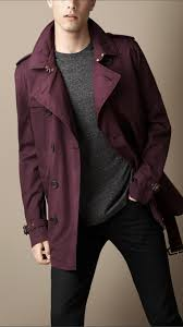 burberry short cotton twill trench coat in purple for men lyst