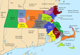 New England States Map by Massachusetts