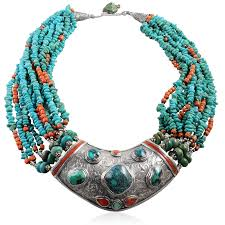 turquoise tibetan necklace images Old tibetan necklace with silver turquoise and coral png