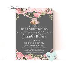 blush pink baby shower tea party invitation dark gray