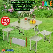 Camping Picnic Table Aluminum Folding Camping Picnic Table With 4 Seats Portable Set
