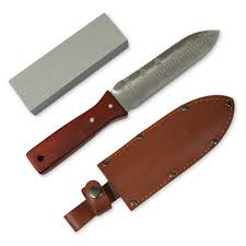 greentisory hori hori knife with leather sheath and large