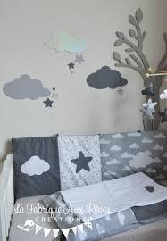 decoration nuage chambre bébé stickers nuages étoiles gris foncé argent gris clair décoration
