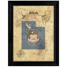 Utah State Map Utahstate Vintage Mapart Office Wall Home Decor Rustic Gift Ideas