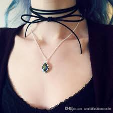 leather bow necklace images 2018 hot black choker leather bow choker lariat tie necklace suede jpg