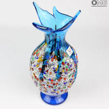 gabbiano light blue vase murano glass millefiori