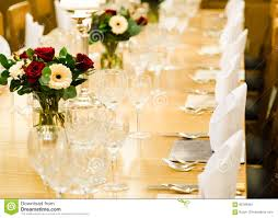 luxury dining table for large group of guests stock photo image