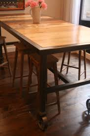 Decoration Tables Home Design Amazing Industrial Dining Table On Wheels Remarkable