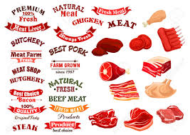 bacon ribbon meat products icons set and vector isolated ribbon banners for