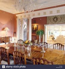 classical columns dividing dining room from hall and living room