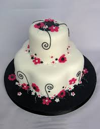 pink black white flowery birthday cake cakecentral com