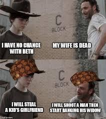Carl Walking Dead Meme - rick and carl scumbags imgflip