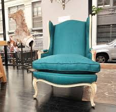 french teal linen wingback chair at 1stdibs