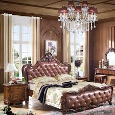 American Leather Wood Bed European Style Carved Leather Beds - High quality bedroom furniture