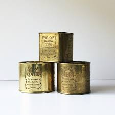 vintage canisters for kitchen vintage brass canisters tea coffee sugar canisters brass tea tin