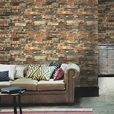blooming wall faux vintage brick stone wood panel peel and stick