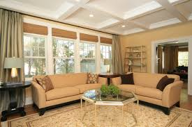 Furniture Layout Ideas For Living Room Two Opposing Sofas With Upholstered Ottoman Coffee Table In