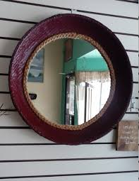 burgundy wicker woven basket hanging wall mirror with braided