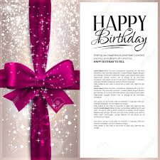 text birthday card vector birthday card with pink ribbon and birthday text royalty