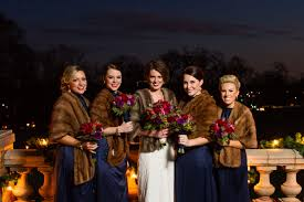 fur shawls for bridesmaids and bridesmaids with fur coats