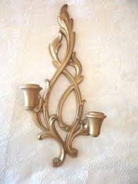Gold Wall Sconce Candle Holder Vintage Syroco Wall Sconce Set Gold Plastic Candle Holders