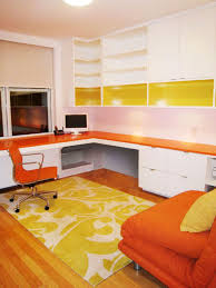 contemporary furniture with orange yellow accent on little white
