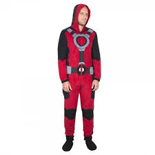 footie pajamas halloween costumes marvel comics deadpool hooded fleece onesie pajama walmart com
