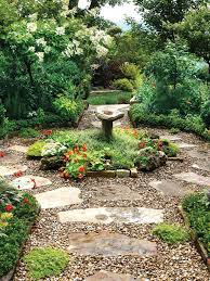 Shady Backyard Landscaping Ideas Large Flagstone Pavers Surrounded By Pea Gravel Create A Rustic
