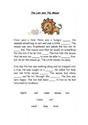 english teaching worksheets the lion and the mouse