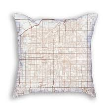 Arizona City Map by Mesa Arizona Throw Pillow U2013 City Map Art