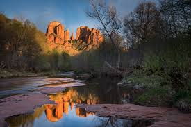 Cathedral Rock Reflections At Sunset Red Rock Crossing Sunset Red Rock Crossing Sedona Az Fred Mertz Photography