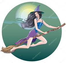 halloween flying witch background beautiful witch flying in the halloween night on a broom