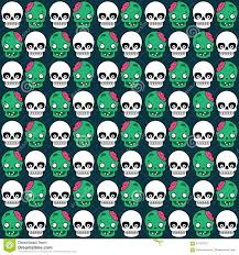 cute halloween pattern with skull and zombie stock vector image