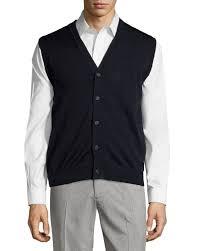 mens sweater vests lyst neiman button front v neck sweater vest in black for