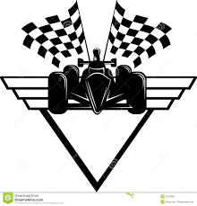 Checkered Flag Eps Race Car With Checkered Flags U0026 Shield Stock Illustration