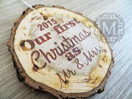 christmas ornaments our first christmas as mr u0026 mrs rustic wood