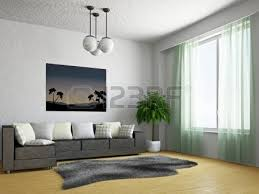 Living Room With Sofa Modern Living Room With Black Couch And Air Conditioner On Wall