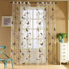 amazon com edal butterfly floral sheer window curtains voile