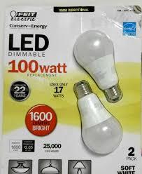 100 watt led light bulb 100 watt led omni directional bulbs dimmable 2 pack feit uses only