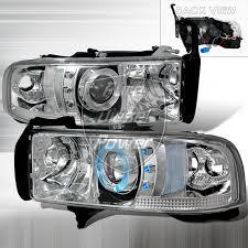 02 dodge ram headlights 94 01 dodge ram halo projector headlights chrome